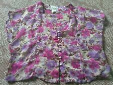 Passport purple pink Semi Sheer Short Sleeve floral spring blouse top button m