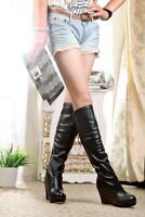 Women Round Toe High Wedge Heel Platform Pull On Knee Boot Fashion Party Casual