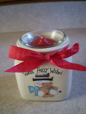 NEW - Crazy Mountain Votive Candle Holder w/ Snowman and Teddy Bear