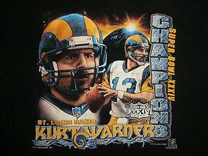 vtg KURT WARNER ST. LOUIS RAMS T SHIRT Super Bowl XXXIV 34 MVP 90s Kids LG sz 7