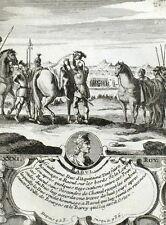 Guillaume Aquitania Roi Raoul Cavallo Incisione originale Nicolas de Fer 1722