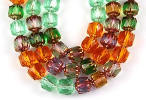 25 Cathedral Fire Polished Faceted Glass Beads Mix Topaz Green Amethyst  6mm
