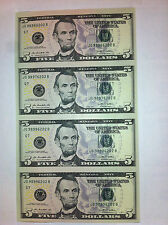 4 UNCUT SHEET $5 X4 Legal USA  FIVE  DOLLARS-Real Currency Note -Rare GIFT Money