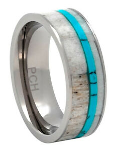 Deer Antler Wedding Band Ring in Titanium with Turquoise Inlay 8mm Comfort Fit