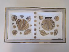 Mcm Divided Georges Briard White Gold Sea Shells Glass Serving Dish Plate Tray