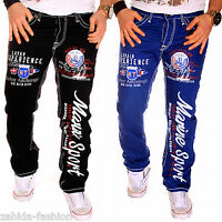 Herren Jeans Chino Hose dicke Nähte Naht Destroyed Clubwear Cargo Style Blau NEU