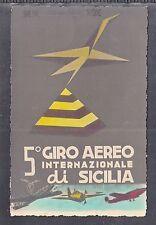 """C 19 ) tolle Luftpost Karte  """"Giro Aereo Internationale di Sicilia"""" Italien 1953"""