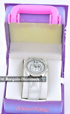 Ladies Teen Hello Kitty Licensed Silver white crystals Fashion Watch Gift Box