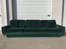 Green Sofa Couch Vintage Hollywood Regency Loveseat Lounge Seating Settee Brass