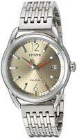 Citizen Eco-Drive Women's Brown Dial Silver Tone Bracelet 34mm Watch FE6080-54X