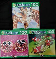 100 Piece Jigsaw Puzzle (Lot of 3) Funny Donuts Giraffe Clownfish Family