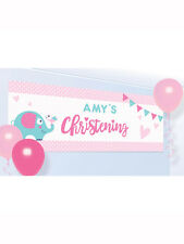 Girls Pink Elephant On Your Christening Day Party Celebration Tableware