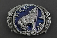 BLUE MOONED WOLF BELT BUCKLE AMERICAN WESTERN INDIAN