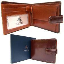 Cartera Triple Cuero Real RFID café/bronceado NUEVO en caja de regalo Visconti TR35