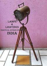 Vintage studio floor lamp spot light industrial searchlight wooden tripod