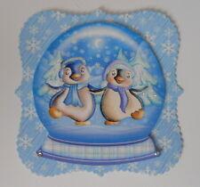 Pk 2 christmas snowglobe penguin amis toppers pour cartes et artisanat