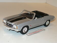 WELLY CHEVY CHEVELLE SS 454 CONVERTIBLE 1:24 SILVER BLACK STRIPES USA FREE SHIP