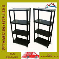 2 x NEW 4 TIER BLACK PLASTIC RACKING SHELVING SHELVES RACK STORAGE SHELF UNIT.
