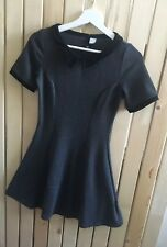Ladies H&M mid grey black collared skater dress Size 10 8 Casual Autumn jersey