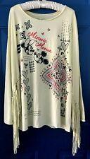 "DISNEY Boutique MINNIE MOUSE Top XL Long Sleeve FRINGE ""vintage style"" Blouse"