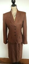 Le Suit Sz 8 Two Piece Skirt Suit Red Tan Brown Black Houndstooth Button Career