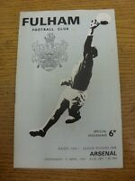 19/04/1967 Fulham v Arsenal  (Faint Crease, Light Creases). Item appears to be i