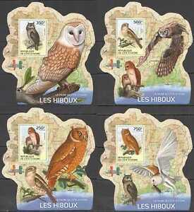 LX285 IMPERF 2014 IVORY COAST OWLS BIRDS #1549-1552 !!! UV CARDBOARD 4BL MNH