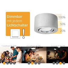 Decken-Aufbau-Spot flach Alu gebürstet, schwenkbar, fourSTEP Dim LED 5W warmweiß
