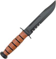 "Ka-Bar USMC Fighting Knife  2-5018-7 12"" overall. 7"" partially serrated bla"