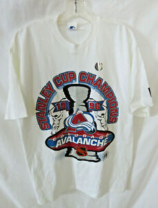 Starter Colorado Avalanche 1996 Stanley Cup Champions T-Shirt NEW Glitter SZ LG