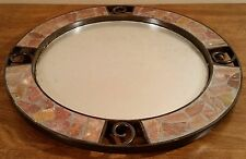 Round Metal Tiled Wall Mirror