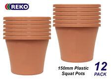 12 x 150mm PLASTIC Squat Pots Terracotta Colour Garden Planter Outdoor