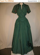 Early 1950's Dinner Dance Gown Green Taffeta Dress