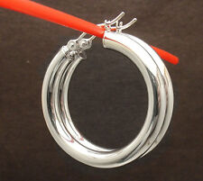 """1 1/4"""" 4mm x 30mm Plain Round Hoop Earrings Real 14K White Gold FREE SHIPPING"""