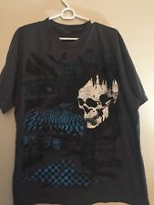 Mens XL Gray T Shirt With Skull And Metallic Blue 3-D Design