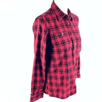 Duluth Trading Womens Button Front Blouse S Small Red Flannel Plaid Tartan