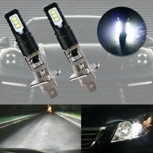 2x H1 6000K Super Bright White 6000LM DRL LED Headlight Bulb Kit High Beam