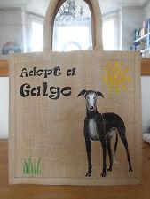 Hand Painted Black Galgo (Spanish Greyhound) Jute Bag - For 112 Carlota Galgos