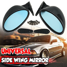 Pair Vintage Carbon California Classic Look Car Door Wing Blue Side View Mirrors