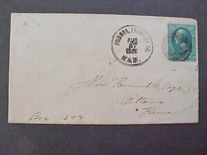 Kansas: Pomona 1883 3c Banknote Cover, Franklin County Cancel