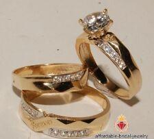 Diamond Trio Set Engagement Ring Wedding Band 14K Yellow Gold His & Hers 2.10 Ct