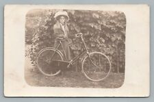 Girl w Raleigh Bicycle RPPC Antique Bike Photo—Woman Hat Ivy European 1910s