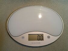 Salter Digital Kitchen Scale Model 1053 WH - Glass Top, Compact Size, Battery Op