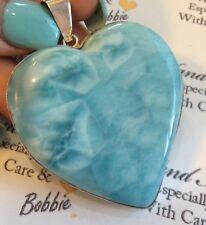 HUGE Amazing   handcrafted HEART AAA Larimar  Pendant 925 silver # A4