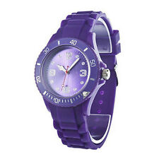 Purple Luxury Street Sporty Rubber Silicone Jelly Womens Casual Wrist Watch