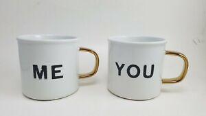 "Pottery Barn Emily Meritt Me You Coffee Mugs Gold Black S/2 3.75"" #2409"