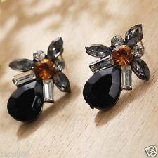 Wholesale 1pair Woman's Black Crystal Rhinestone Long Ear Stud Hoop earrings 101