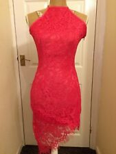 1f07b0eefb6 Pretty Little Thing Lace Halterneck Pink Dress - size 10