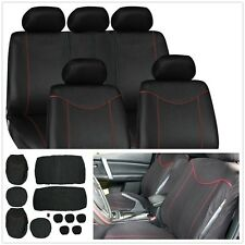 Universal 11Pcs Auto Car Seat Cover Full Seat Cover Set Protector Black+Red Edge