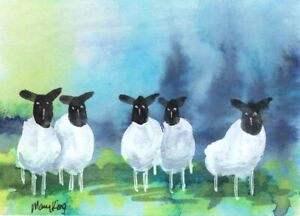 Watercolor ACEO Original Painting by Mary King - Sheep
